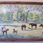 SALE Florida Painting Horse Farm Acrylic on board 87 by 37 inches