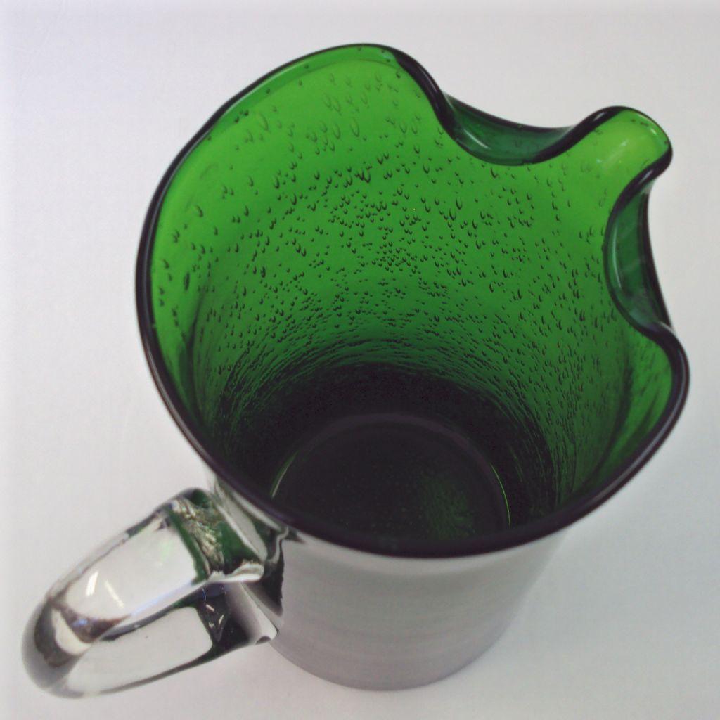 Green Blown Glass Pitcher