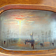 SALE Antique Oil Painting on an Early American Dough Tray