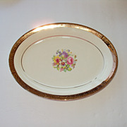 SALE 9.5 by 7 inch wide Platter 22kt gold rim floral center Stetson China USA