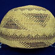 American Indian Chat Shape Basket Hat Yurok California