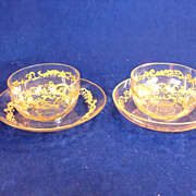SALE TWO Antique Bohemian Engraved Gold Enamel Crystal Bowl and Saucer, Under Plate - Finger B