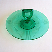 Green Depression Glass, Sandwich, Dessert, Cake Plate with a handle