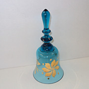 SALE Fenton Blue Glass Bell with Gold handpainted Flowers