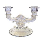 SALE Double Candle Holder Clear Cut Glass