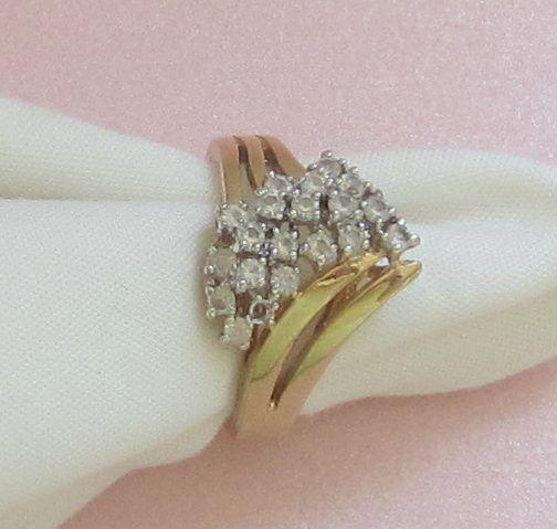 Sparkling Bold Vintage 14KT GE Cocktail Ring with Rhinestones Size 8 1/2