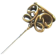 Victorian- Art Nouveau 10K Gold Filled Watch Fob-Wax Seal Hat Pin