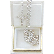 """Silver Rosary Beads and """"Book"""" Box"""