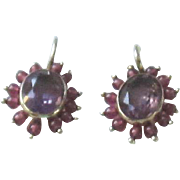 Beautiful Amethyst, Garnet, Vermeil Earrings