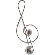 Vintage Sterling Silver Treble Clef Pin/Brooch