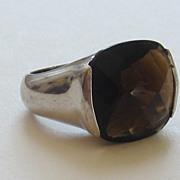 Modernism Vintage Smoky Quartz/Topaz Sterling Silver Ring