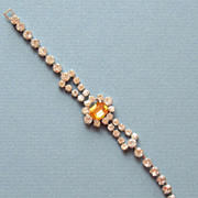 Sterling Silver Vintage Rhinestone Bracelet