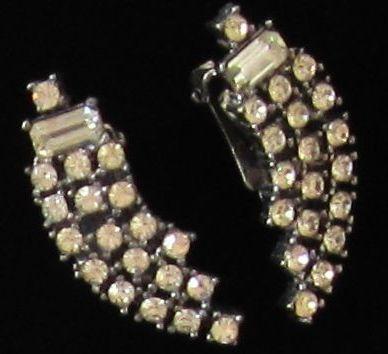 Glamorous Vintage Rhinestone Silver Tone Earrings