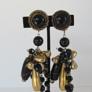 SALE Dramatic Vintage Gold Tone and Black Bead and Charms Dangle Earrings