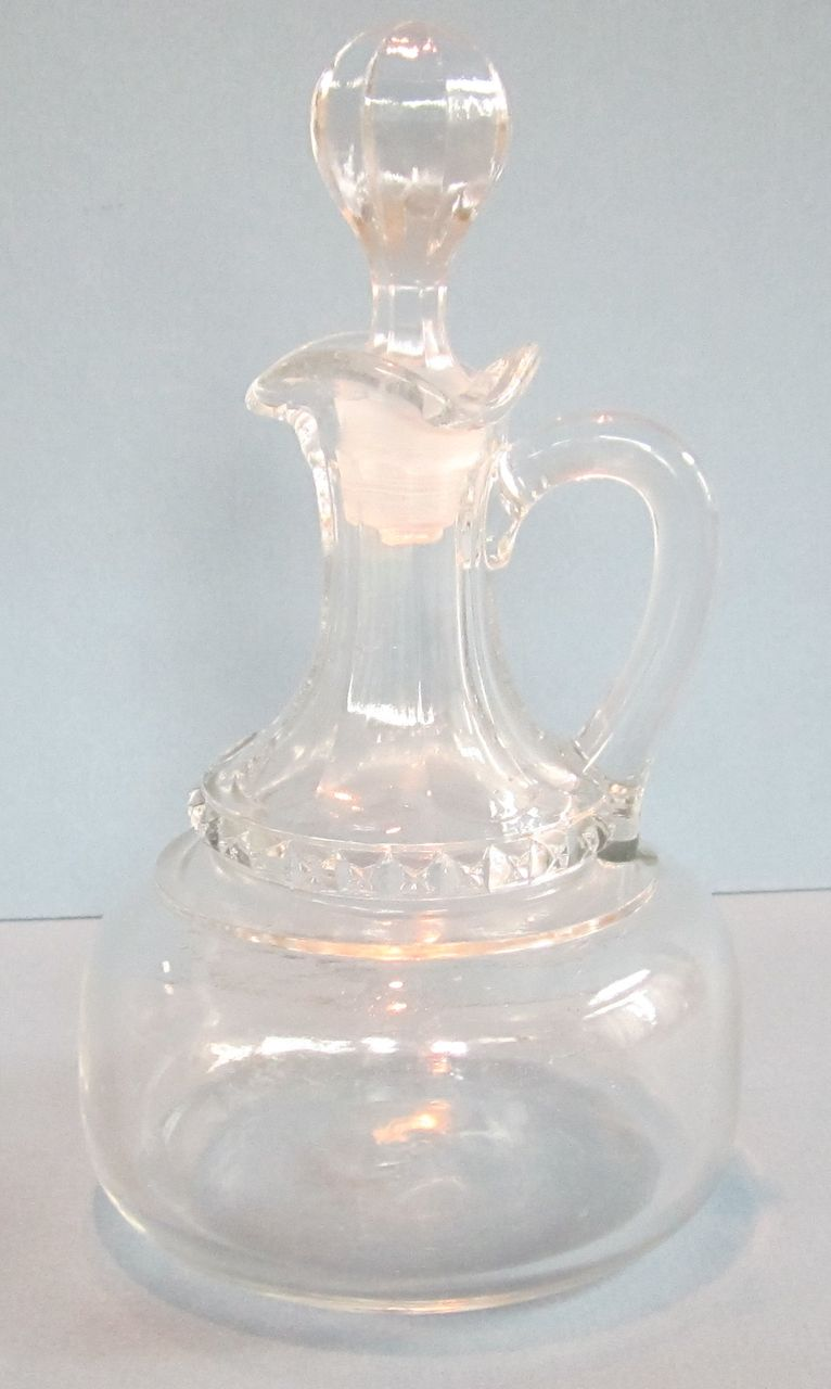 Vintage Fluted Scroll Clear Glass Cruet with Lid
