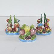 Italian Vintage Three Pottery Place Card Holders