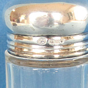 Antique Sterling Silver and Glass Vanity Jar