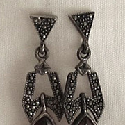 Lovely Vintage Sterling Silver, Marcasite and Red Garnet Dangle Pierced Earrings