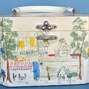 Hand Painted Vintage Wood Handbag-Saks Fifth Avenue