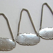 Three Vintage Sterling Silver Liquor Tags
