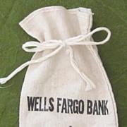 Vintage Wells Fargo Bank Burlap Sack