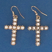 Vintage Rhinestone, Gold Tone  Cross Earrings