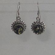Vintage Russian, Baltic Green Amber Sterling Silver Earrings