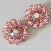 Judy Lee Vintage Pink Crystal Aurora Borealis Earrings
