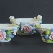 Three Vintage Porcelain Floral Salt Cellars