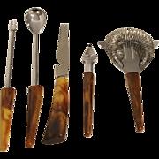 5 Piece Marbled Brown Bakelite Bar Set Utensils
