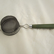 Green Bakelite Strainer Vintage Kitchen Utensil