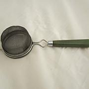 Green Bakelite Strainer Vintage Kitchen Utensil