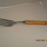 Yellow Bakelite & Lucite Meat Fork