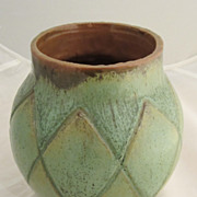 Green Designed Red Ware Ovoid Vase - Art Pottery