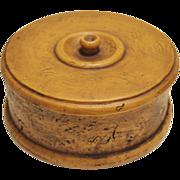 Hardwood Burl Covered Round Box