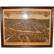 17th Century Hand Colored Map of Seville Spain Framed