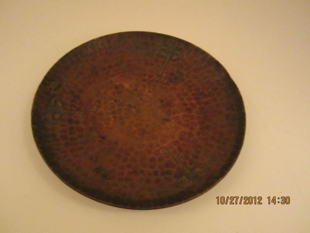 Roycroft Round Hammered Copper Ashtray