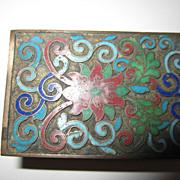 Cloisonne Match Box Holder Vintage