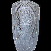Vintage American Brilliant Tall Cut Glass Vase