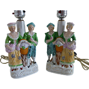Set of 2  Porcelain Figurine Lamps with shades