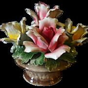 Vintage Capodimonte Rose Basket Centerpiece Arrangement