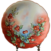 Limoges Cherry Platter hand painted and artist signed c 1914
