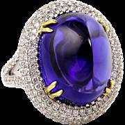 Phenomenal Estate GIA 26.30ct Sugarloaf TANZANITE Deep AAA Bluish Violet Diamond 18k Ring