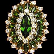 9.73ctw Vintage Estate Retro Green TOURMALINE with Diamonds in 18k Yellow Gold Ballerina ...