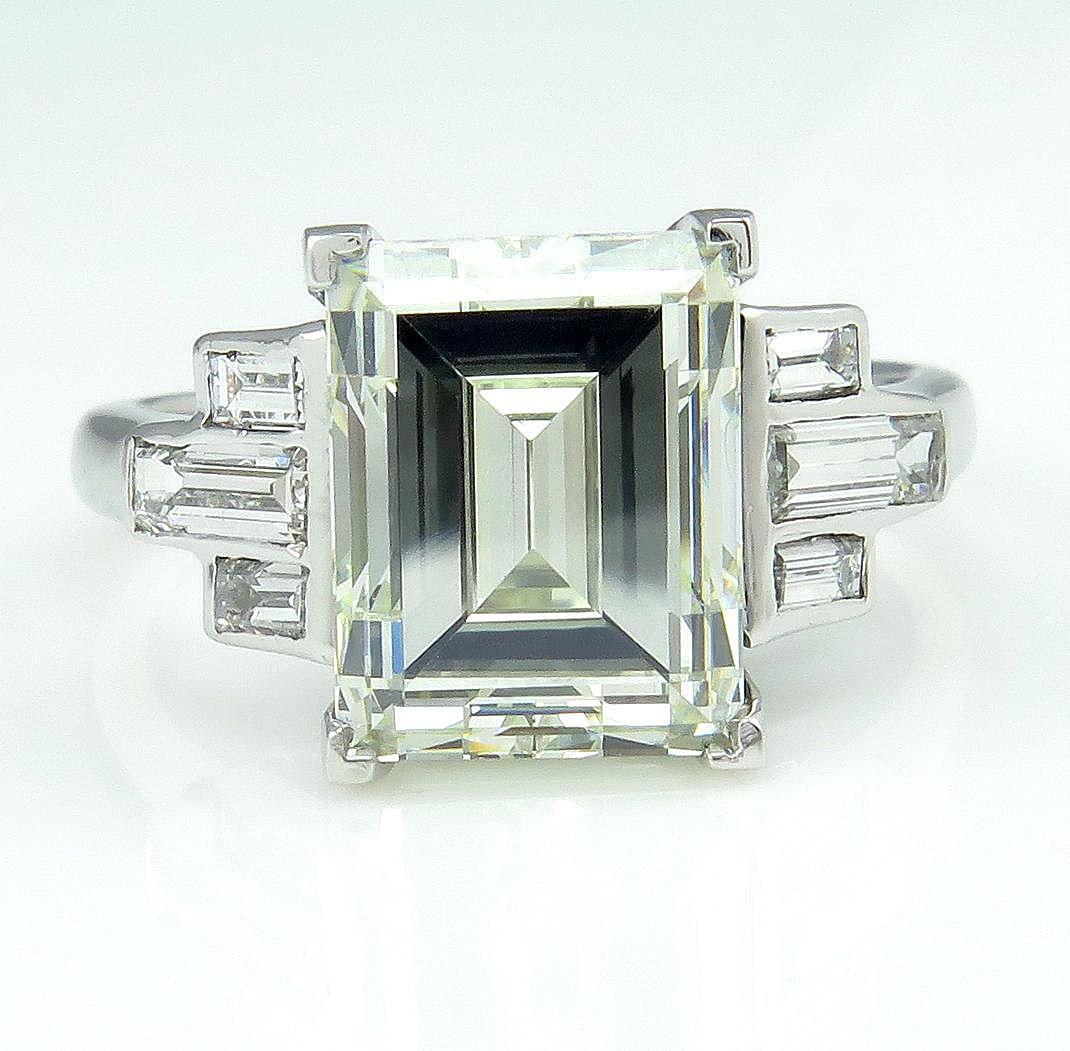 impressive deco 5 03ct emerald cut and baguette engagement wedding platinum ring