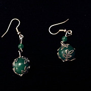 Vintage Chinese Green Aventurine Beads Sterling Silver Earrings