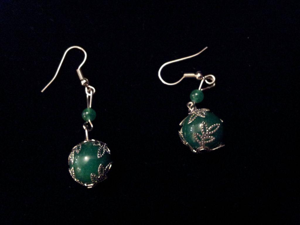 Vintage Chinese Green Aventurine Beads Sterling Silver Earrings