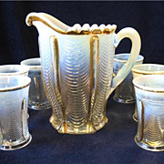 Victorian EAPG Northwood Glass Drapery Water Set Pitcher 6 Tumblers Opalescent