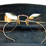 SOLD Vintage Ful-Vue 10K Gold Filled Eyeglasses Fully Rimless With Case