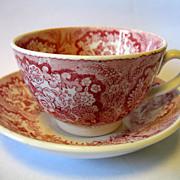 "REDUCED Antique Societe Ceramique Maestricht Pink Red Transferware Child Cup & Saucer ""Or"
